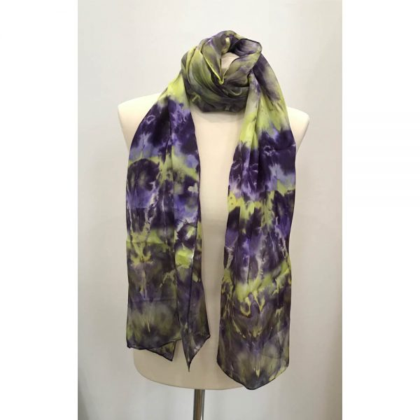Hand painted long silk scarf in shades of lavender, crocus and reseda