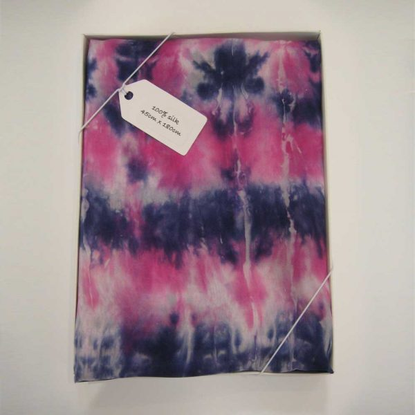 Hand painted long silk scarf in shades of magenta and navy blue