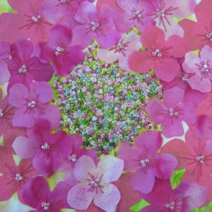 Creative embroidery Kit: Hydrangea using silk painted fabrics, threads and beads