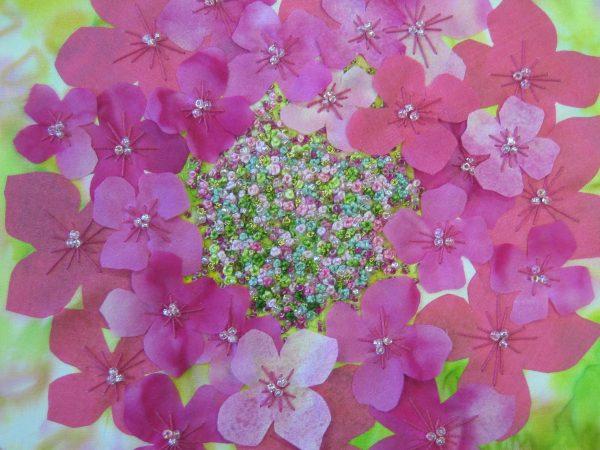 Creative embroidery Kit: Hydrangea using silk painted fabrics, threads and beads