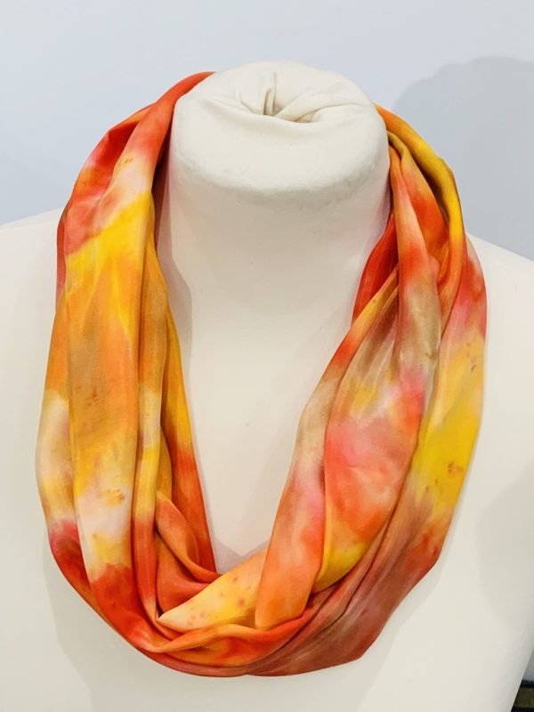 Hand dyed silk infinity scarf