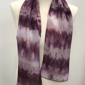 Short Crepe de Chine Scarf in Aubergine and Smokey Quartz 28cm x 130cm